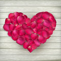 Heart made from rose petals eps on wooden boards vector file included Stock Photography