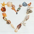 Heart made by sea shells Royalty Free Stock Photo