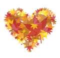 Heart made up warm colored transparent leaves Stock Photography