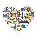 Heart made with vacation attributes