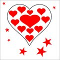 Heart with many hearts love