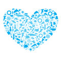 Heart with marine life Royalty Free Stock Photo