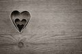 Heart metal on old wood background valentines day card Stock Image