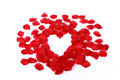 Heart middle of rose petals Royalty Free Stock Photos