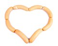 Heart of mini wieners chain isolated closeup Royalty Free Stock Photos