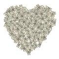 Heart of the money Royalty Free Stock Photo