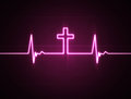Heart monitor with cross a rate a christian symbol Stock Images