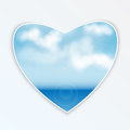 Heart with natural design sea and clouds seascape on a figure in the shape of Royalty Free Stock Image