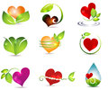 Heart and nature symbols bright clean designs beautiful color combinations healing power Stock Photography