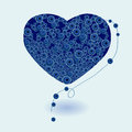 Heart necklace vector blue illustration Stock Photos