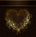 Heart ornamental drawn vintage gold Stock Image