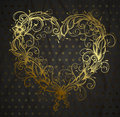 Heart ornamental drawn vintage gold Royalty Free Stock Photo