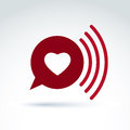 Heart over the speech bubble icon, vector conceptual stylish symbol for your design. Royalty Free Stock Photo