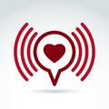 Heart over the speech bubble icon, vector conceptual stylish Royalty Free Stock Photo