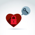 Heart Padlock lock and Key conceptual icon, unlock my heart, unlock your feelings, free your heart, safe from feelings, vector con
