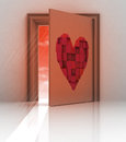 Heart painted on back of closed door Stock Image