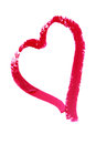 Heart painted with lipstick san valentine pictures a on white Stock Images
