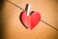 Heart paper with clothespin for valentine s day Stock Photo