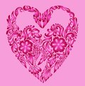 Heart pattern floral, love background Stock Image