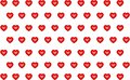 Heart pattern red set of love symbol on white background endless row Royalty Free Stock Photo