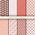 Heart Patterns Set Retro Seamless Backgrounds For Valentine Day Royalty Free Stock Photo