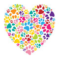 Heart paw print Royalty Free Stock Photo