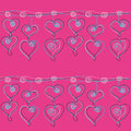 Heart Pendant Chain seamless pattern on a pink background Royalty Free Stock Photo