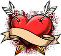 Heart pierced by arrows illustration with two and banner against blood splashes drawn in tattoo style Stock Images