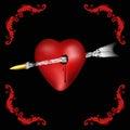 Heart pierced Royalty Free Stock Photo