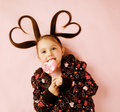 Heart pigtails valentine Stock Photography