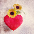 Heart pillow and daisies Stock Image