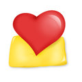Heart on a pillow red yellow illustration Royalty Free Stock Image