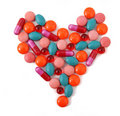 Heart from pills Royalty Free Stock Photo