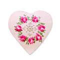 Heart with pink flowers on white background Royalty Free Stock Photo