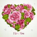 Heart from pink roses valentines day card romantic Royalty Free Stock Image
