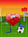 Heart playing in football Royalty Free Stock Images