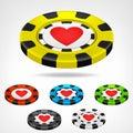 Heart Poker Chip Isometric Set...
