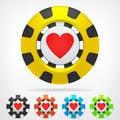 Heart Poker Chip Set 3D Object