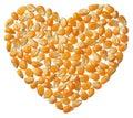 Heart of Popcorn kernels isolated on white background Royalty Free Stock Photo
