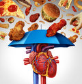Heart protection medical concept as a symbol to avoid a clogged artery and atherosclerosis disease as a blue umbrella protecting Royalty Free Stock Image