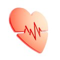 Heart pulse beat and health issues glossy red emblem icon isolated on white Stock Photography