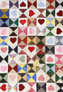 Heart quilt romantic beautiful colorful motif blanket Stock Photography