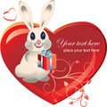 Heart with rabbit Stock Images