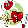 Heart reading love poem cartoon illustration of poet character a on valentine day Stock Photography