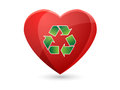 Heart with recycle symbol Royalty Free Stock Images
