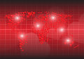 Heart red background map of the world
