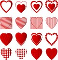 Heart red color set in white background