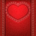 Heart red denim frame as of fabric valentine background vector illustration Royalty Free Stock Image