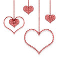 Heart red garland with different hearts on a white background Stock Image