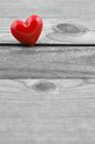Heart red on old wood background valentines day card copy space Stock Photography
